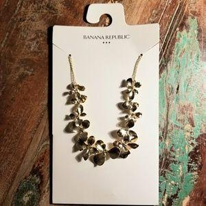 Banana Republic Goldtone Bridal Floral Necklace